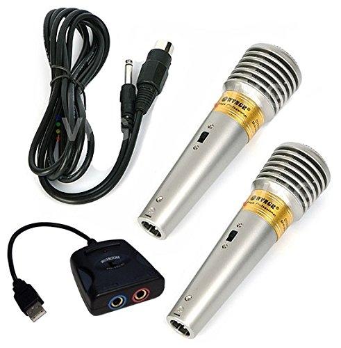 KARAOKE Set: 2x Mikrofon + 1x Adapter Singstar - für PS2 PS3 PS4 Wii XBOX PC
