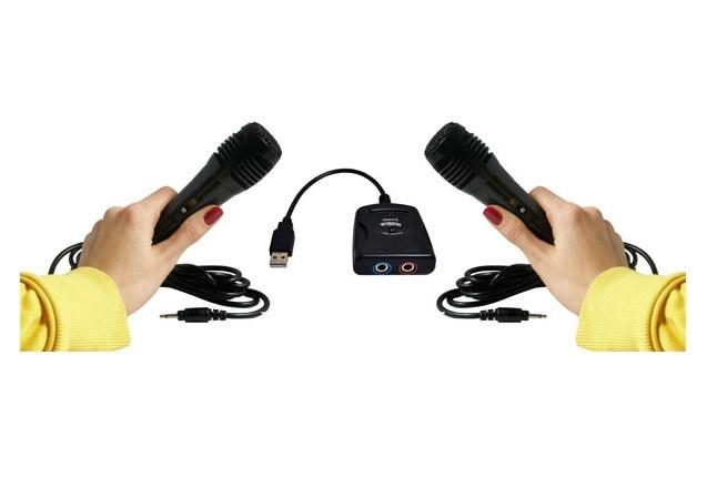 PREMIUM SET: 2x Mikrofone für PS2 / PS3 + 1x USB-Adapter Singstar