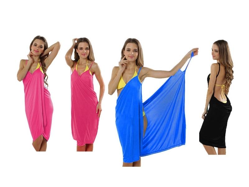 Trendiges Strandkleid Wickeltuch Pareo Sarong Sommerkleid Handtuch - BLAU