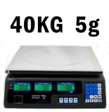 PREMIUM 40 kg / 5 g Digitale Warenwaage Ladenwaage - Stellfläche 23 x 34 cm