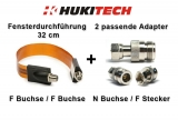 SET: Flache Fensterdurchführung (32 cm) + 2 passende HUKITECH Adapter