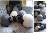 Kissen Plüschtier Kuschelkissen Schaf Lamm - WEIß