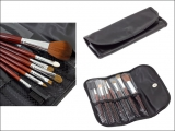 7 tlg PROFI ECHTHAAR Make-up Pinsel Brush Set im Etui LEDER